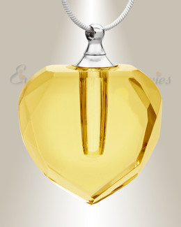 Glass Locket Yellow Inspire Heart Cremation Pendant