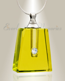 Glass Locket Yellow Tribute Memorial Urn Pendant
