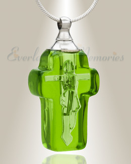 Glass Locket Emerald Honorable Cross Ash Locket