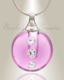 Glass Locket Pink Stability Cremation Urn Necklace
