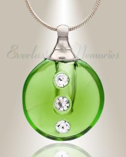 Glass Locket Emerald Stability Jewelry Urn