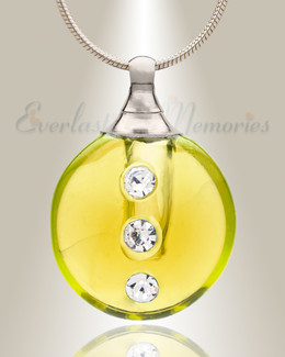 Glass Locket Yellow Stability Keepsake Locket