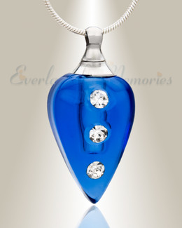 Glass Locket Blue Merriment Cremation Charm