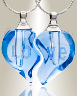 Glass Locket Blue Partnership Heart Cremation Jewelry