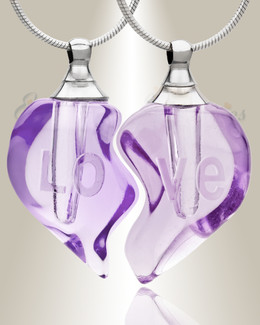 Glass Locket Lilac Partnership Cremation Jewelry