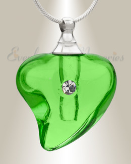 Glass Locket Green Lovely Cremation Jewelry