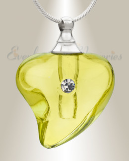 Glass Locket Yellow Lovely Cremation Jewelry