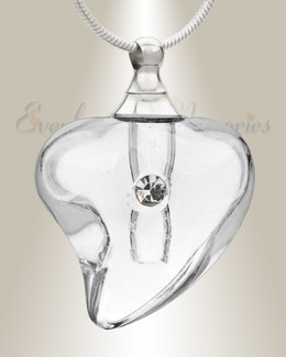 Glass Locket Clear Lovely Cremation Jewelry