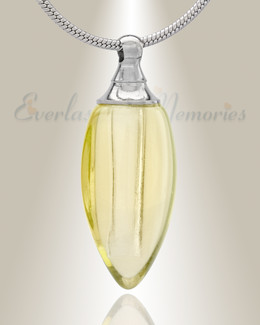 Glass Locket Yellow Tears Cremation Jewelry