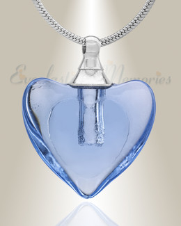 Glass Locket Blue Hearts Cremation Jewelry