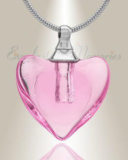 Glass Locket Pink Hearts Cremation Jewelry