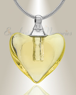 Glass Locket Yellow Hearts Cremation Jewelry