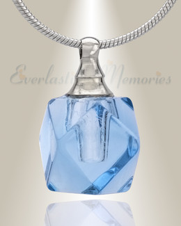 Glass Locket Blue Cubix Cremation Jewelry