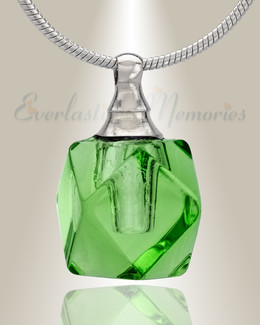 Glass Locket Green Cubix Cremation Jewelry