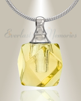 Glass Locket Yellow Cubix Cremation Jewelry