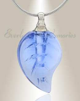 Glass Locket Blue Leaf Cremation Jewelry