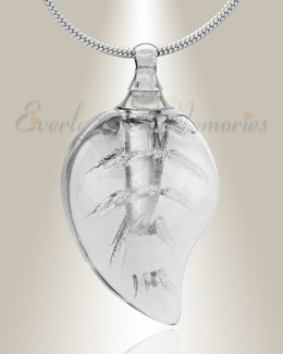 Glass Locket Clear Leaf Cremation Jewelry