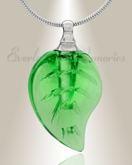 Glass Locket Green Leaf Cremation Jewelry