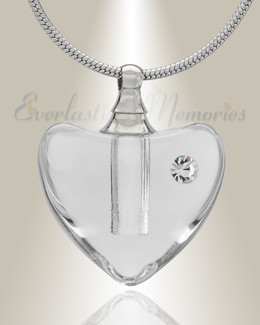 Glass Locket Clear Heartfelt Cremation Jewelry