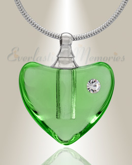 Glass Locket Green Heartfelt Cremation Jewelry