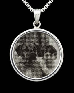 Laser Engraved Round Photo Funeral Jewelry-Silver
