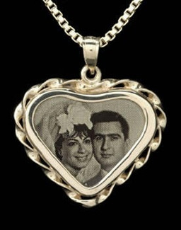 Laser Engraved Heart Photo Jewelry Urn-14K