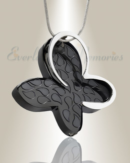 Black Wakeful Butterfly Urn Pendant