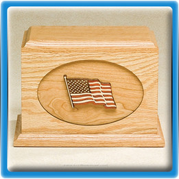 Waving Flag Wood Urn