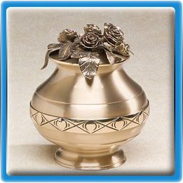 Bountiful Roses Bronze Urn