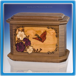 Walnut Butterfly Wood Cremation Urn