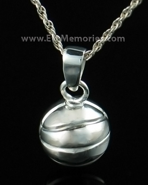 Sterling silver urn basketball pendants by everlasting memories sterling silver basketball urn necklace mozeypictures Images