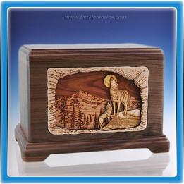 Walnut Baying Wolf Wood Cremation Urn