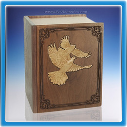 Walnut Book of Doves Companion Wood Urn