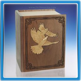 Walnut Book of Doves Companion Wood Urn