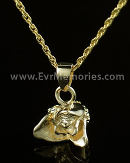 14K Gold Plated Rose Bud Cremation Urn Necklace