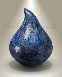 Large Blue Teardrop Urn