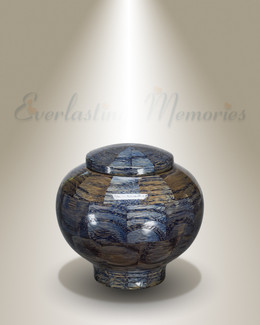 Peony Urn in Blue-Keepsake