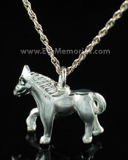 Silver Horse Cremation Urn Keepsake