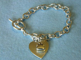 Silver Paw Charm Bracelet Urn Keepsake