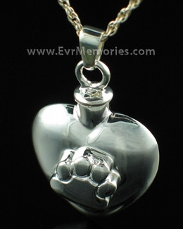 Silver Heart with Paw Funeral Jewelry
