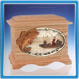 Oak Bass Fishing Wood Cremation Urn