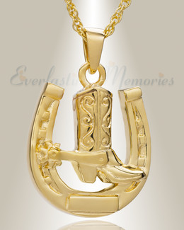 14K Gold Giddy Up Cremation Keepsake