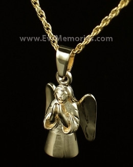 14K Gold Plated Praying Angel Jewelry Urn