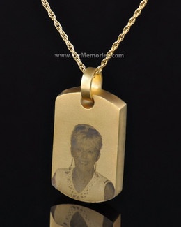 Gold Plated Remembrance Tag Memorial Pendant