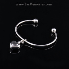 Sterling Silver Double Heart Cremation Bracelet