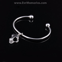Sterling Silver Small Cross Cremation Bracelet