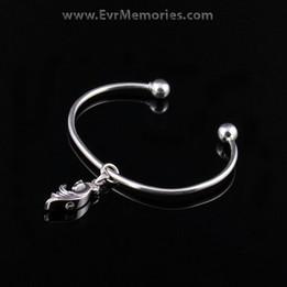 Sterling Silver Stallion Cremation Bracelet