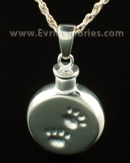 14K White Gold Pawprints Cremation Pendant