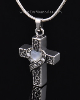 Sterling Silver Heart Cross Memorial Pendant