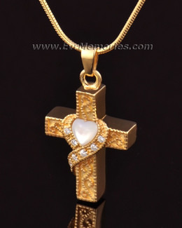 14k Gold Heart Cross Memorial Pendant